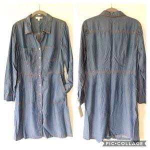 Spense • Chambray button front shirt dress